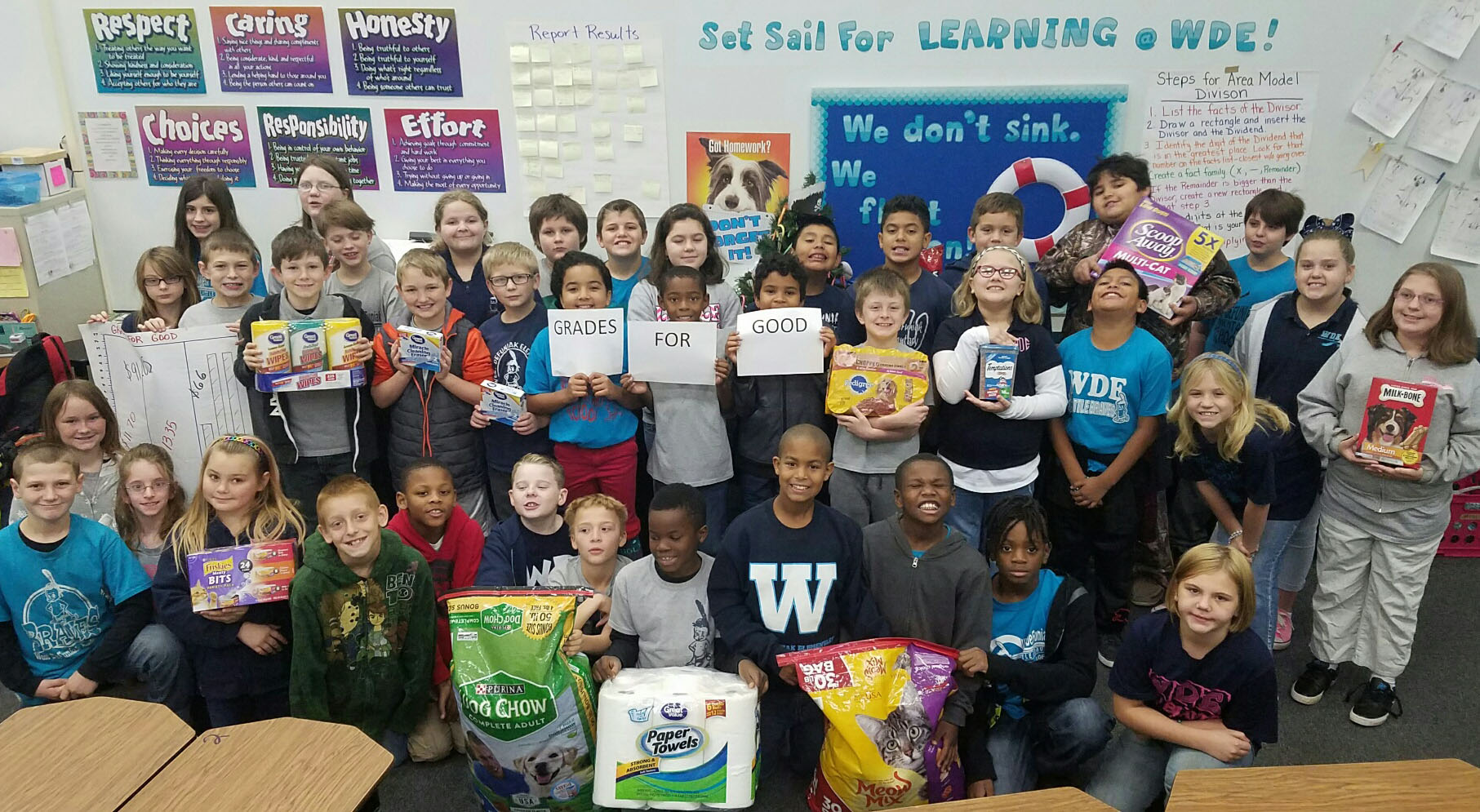 """A"" FOR ANIMAL SHELTER; STUDENTS AT WEST DEFUNIAK ELEMENTARY RAISE MONEY FOR ANIMAL SHELTER THROUGH GRADES FOR GOOD PROJECT"