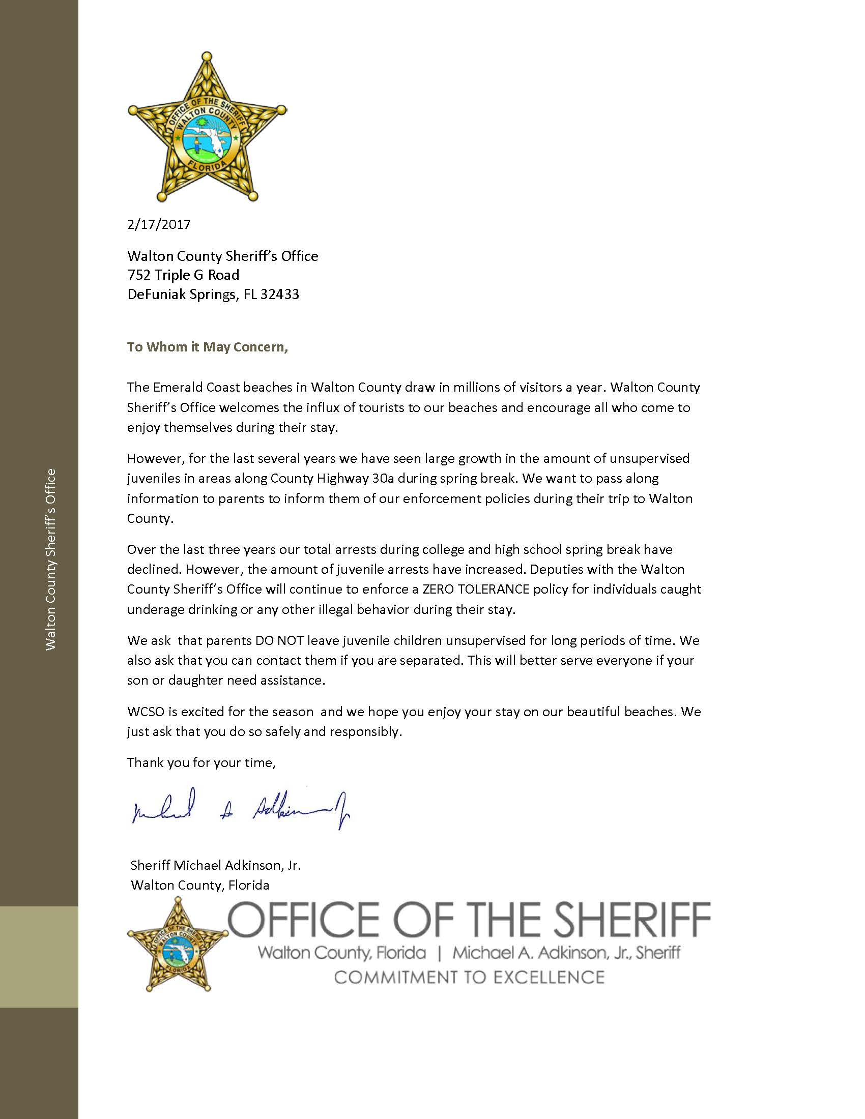 Word Spring 2017: WCSO DRAFTS LETTER TO PARENTS BEFORE START OF HIGH SCHOOL